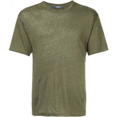 Jac+ Jack loose fit T-shirt ($86) ❤ liked on Polyvore featuring men's fashion, men's clothing, men's shirts, men's t-shirts, green, mens green shirt, mens linen shirts, mens linen t shirt, mens loose shirts and mens loose fit swim shirt