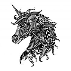 Drawing unicorn zentangle style for coloring book, tattoo, shirt Design Tattoo, Tattoo Designs, Shirt Designs, Tattoo Ideas, Zentangle, Unicorn Head, Unicorn Art, Unicorn Outfit, Unicorn Crafts