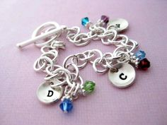 Sterling Silver Charm Bracelet - Hand Stamped Jewelry - Teeny Tiny Cups