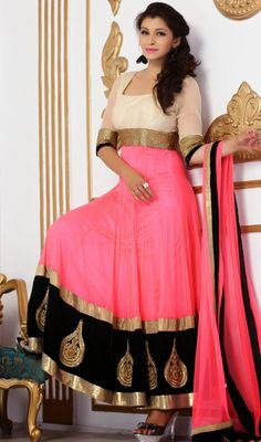 Pink and Beige Shade Art Raw Silk Long Anarkali Suit Price: Usa Dollar $338, British UK Pound £198, Euro250, Canada CA$363 , Indian Rs18252.