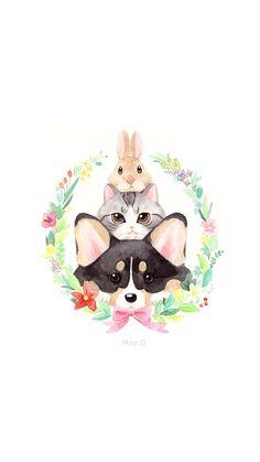 garland Cat Comics, Kitty Wallpaper, Flower Wall, Cute Wallpapers, Hello Kitty, Cute Art, Kawaii, Animation, Cats
