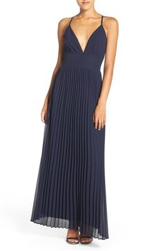 $78 (IN GRAY OR CHARCOAL BLUE) Lulus Plunging V-Neck Pleat Georgette Gown available at #Nordstrom