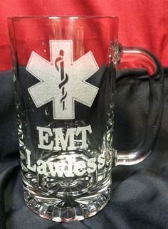 EMS or EMT, Star of Life Beer Mug, Birthday or Wedding Attendant Gifts