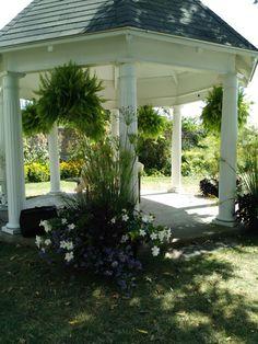 Beautiful lush flowers and greenery for the gazebo - Summer Weddings Ruthven Park 2016 Wedding Rentals, Summer Weddings, Historical Sites, Garden Landscaping, Lush, Greenery, Gazebo, Boards, Rustic