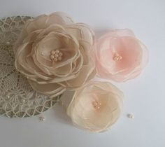 Antique Pink, Ivory and Coral pink Fabric flowers in Vintage style, Hair clip, pin, Shoes clasp, Brooch, Bridal accessories, Girls, Handmade