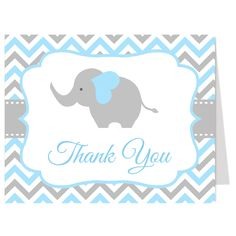 Thank guests for attending your boy baby shower with this baby blue and gray chevron striped thank you card featuring an elephant. White envelopes included.