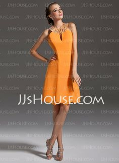Cocktail Dresses - $113.99 - A-Line/Princess Halter Short/Mini Chiffon Cocktail Dresses With Beading (016006692) http://jjshouse.com/A-Line-Princess-Halter-Short-Mini-Chiffon-Cocktail-Dresses-With-Beading-016006692-g6692
