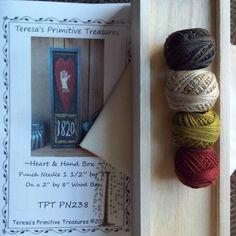 Punch Needle Kit Heart Hand Box Valdani by TeresasPrimTreasures