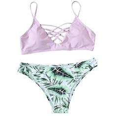2b5cfd3be13776 Women s Bathing Suit Adjustable Spaghetti Strap Floral Print Criss Cross  Bikini Set Material  Nylon Spandex Fabric is Good and Feels Comfy When you  Wear It ...