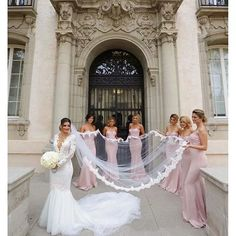 The bridesmaids dresses are prettier than the gown
