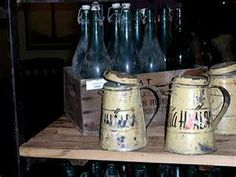 Vintage metal cans and glass bottles