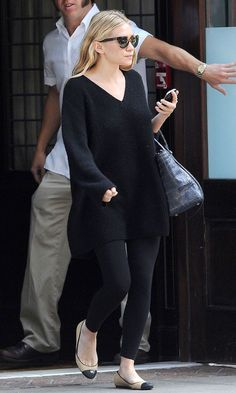 Ashley Olsen Looking Fall-Ready In An Oversized Sweater And Leggings I literally wear this every day