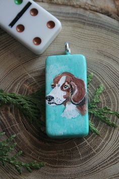 Dog Domino  Handpainted Necklace or Keychain by ArtfullyReDesigned, $20.00