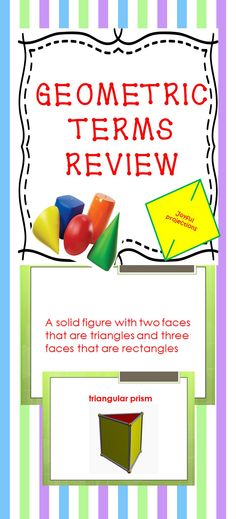 This presentation can be used to begin a unit on geometry, and then used again for a fun review. A definition of a geometric term is given and the next slide is an illustration of that term. Students can follow along and create their own vocabulary list at the beginning of a geometry unit, and then use the slides as a review game or quiz at the end of the unit.