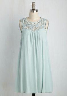 Strike a Prose Dress - Mint, Solid, Casual, Sundress, Boho, Festival, Shift, Sleeveless, Summer, Woven, Good, Mid-length