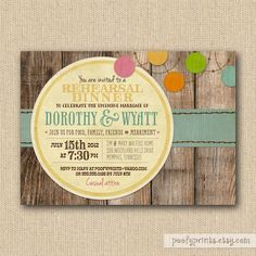 Rustic Rehearsal Dinner Invitations - Rustic BBQ Mixed Type Printable Invitations. $24.00, via Etsy.