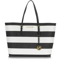 Michael Kors Medium Jet Set Travel Striped Tote ($298) ❤ liked on Polyvore featuring bags, handbags, tote bags, accessories, bolsa, stripe tote, buckle purses, michael kors purses, travel purse and travel handbags