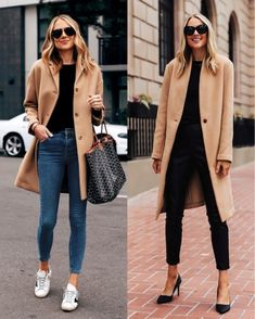 Camel coat (left everlane - size 2 / right saks size XS) black sweater (xs) jeans (tts) golden goose sneakers black pumps Winter Fashion Outfits, Fall Winter Outfits, Autumn Fashion, Winter Style, Spring Outfits, Spring Fashion, Casual Weekend Outfit, Casual Outfits, Casual Jeans