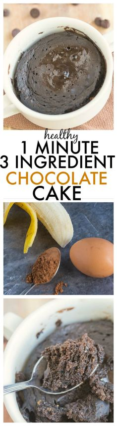 Healthy THREE Ingredient Flourless Chocolate Cake which takes ONE minute- Moist, fluffy and delicious, it clocks in at around 100 calories only- OVEN VERSION TOO {Paleo, gluten free + tested Vegan option!} -thebigmansworld.com