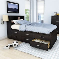 Effectively use your space with drawers beneath the bed.