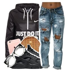 """Untitled #1408"" by toniiiiiiiiiiiiiii ❤ liked on Polyvore featuring NIKE and MCM"