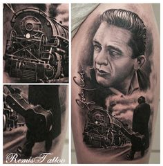 arm tattoo with detail. The train is awesome. Johnny Cash.