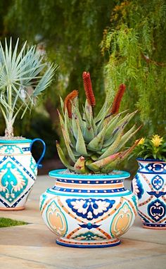 Inspired by the colors of the Riviera, our intricately detailed Mediterranean Painted Urn with Handles brings a burst of warm, vibrant color to your deck, patio or entryway.