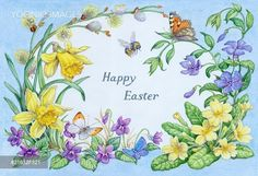Spring Flowers with Butterflies and Bee - PortForLio - Stock photos, Illustrations & Video footage Happy Easter Pictures Inspiration, Easter Activities, Plant Illustration, Vintage Easter, Easter Crafts, Flower Art, Artist, Butterflies, Spring Flowers Pictures