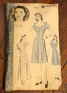 Hollywood 1042 Dress Vintage 1940s Sewing by EleanorMeriwether, 20.00