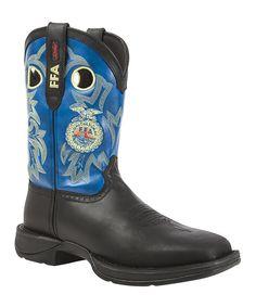 Blue & Black FFA Organization Leather Western Boot - Men