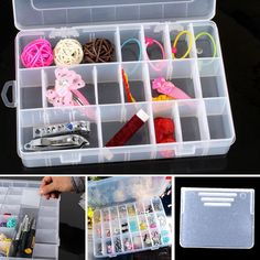Practical Adjustable Plastic 24 Compartment Storage Box Case Bead Rings Earrings Jewelry Display Organizer #Affiliate