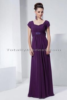 Lindee modest bridesmaid dress, shown in #purple #elegant #long I like this style, and it is flattering for most people. Way too expensive from this site. I wouldn't spend that much on my dress!