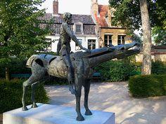 Horse rider sculpture in Bruges, Belgium.