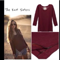 Knot Sisters burgundy zip sweater Great looking cotton knit sweater features scoop neck and cool side zippers, looks great layered over the dress also listed😍 Knot Sisters Sweaters