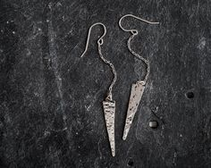 Silver Hammered Spike Earrings. Simple. Triangle. by knobbly, $28.00