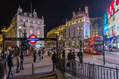Piccadilly Circus at night in London