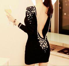 VESTIDO ESPALDA V CON PERLAS Color: Negro Talla: Talla Única ( S,M,L )  Precio: 39.99€  www.cocoylola.es #cocoylola #moda #vestidos #tiendaonline #shop #españa