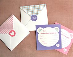 Free Printable Purple and Pink Teddy Bear Birthday (or shower) Party Invitations !