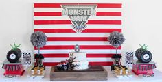 monster trucks/racing/cars Birthday Party Ideas | Photo 2 of 19 | Catch My Party Festa Monster Truck, Monster Truck Birthday, Monster Trucks, Monster Jam Party Supplies, Monster Truck Drawing, Cars Birthday Parties, Birthday Ideas, 8th Birthday, Craft Party