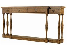 Shop for Hooker Furniture Four-Drawer Thin Console, 3001-85001, and other Living Room Tables at Goods Home Furnishings in North Carolina Discount Furniture Stores. An elegant four-drawer console table featuring a slender build and rustic details that make this piece a charming addition to a living room collection.