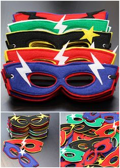 Superhero Masks - Find more Super Hero Party Ideas at http://www.birthdayinabox.com/party-ideas/guides.asp?bgs=34