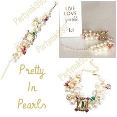 Perfectly Pretty in Pearls....& Gems Bracelet  Pearls & Gems Beautiful bracelet By T&J Designs  18 karat gold plated metals and faux pearls nickel free. featuring  multicolored shiny gems. Extravagant Classy and Chic. Brand-new  retail $42 make offer  all reasonable offers will be considered or  please bundle for additional savings pic #4  reflects the bracelet under different color lighting T&J Designs Jewelry Bracelets