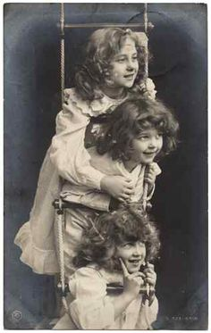 Love this! Vintage Photo Postcard of 3 Little Girls on A Ladder | eBay