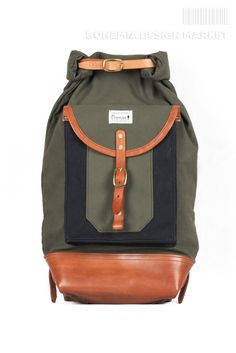 #limited #edition #green #rolltop #leather #element #original #local #production Bohemia Design, Rucksack Backpack, Creative People, Backpacks, Green, Leather, Stuff To Buy, Bags, Handbags