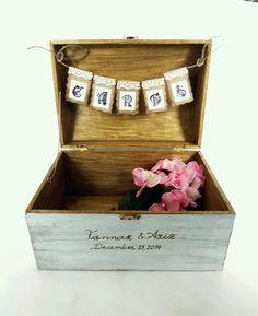 Wedding Card Box Rustic Wooden Card Box Rustic by SayaArtDesign
