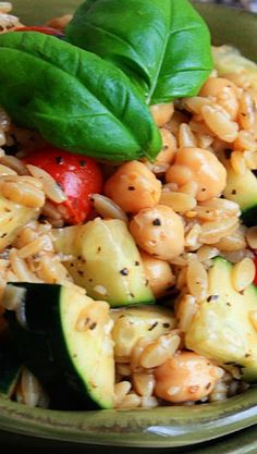Balsamic Dijon Orzo Salad Recipe ~ This orzo pasta salad is loaded with cherry tomatoes, cucumbers, and chickpeas tossed in a balsamic dijon vinaigrette - serve warm or cold!