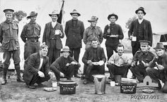 Any complaints 'No sir'. In camp at Blackboy Hill. Robert Gibson from right at rear, 1915 Robert Gibson, Man About Town, Anzac Day, First Girl, Jealousy, Western Australia, Stew, Wa Gov, Camping