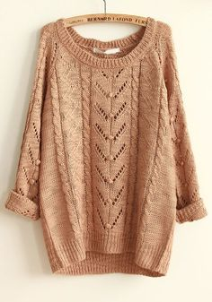 Khaki Geometric Hollow-out Round Neck Cotton Sweater