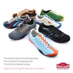 The Hunziker Casual Driving Shoe Collection is here.  Find the perfect shoe to express your love of sports cars, motorsports and the classic car lifestyle. Inspired by Gulf Oil, Steve McQueen, Porsche and Lotus.