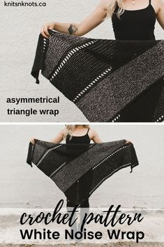 Crochet Pattern – White Noise Wrap Crochet Pattern – White Noise Wrap,Knitting asymmetrical triangle wrap with eyelets! Use any worsted weight yarn. Crochet Crafts, Easy Crochet, Free Crochet, Knit Crochet, Crochet Shawls And Wraps, Crochet Scarves, Crochet Clothes, Ponchos And Wraps, Shawl Patterns